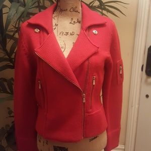 One Girl Who's Red moto style sweater